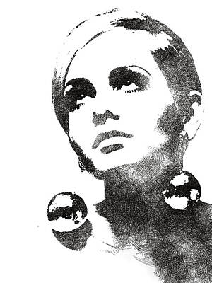 Drawing - Twiggy Bw Portrait by Mihaela Pater