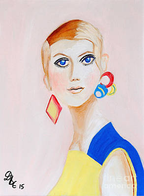 Twiggy Painting - Twiggy by Art by Danielle