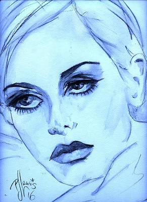 Twiggy In Blue Art Print by P J Lewis