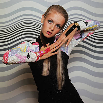 Photograph - Twiggy Models In Front Of Waves by Bert Stern