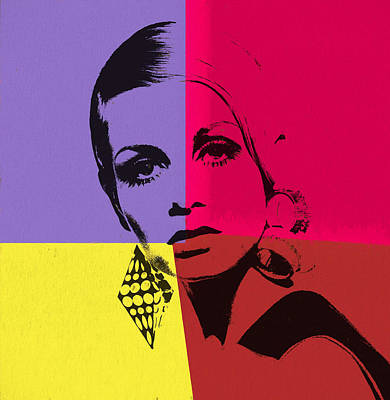 Twiggy Pop Art 1 Art Print by Dan Sproul