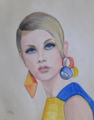 Painting - Twiggy The 60's Fashion Icon by Kelly Mills
