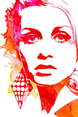 Twiggy Pop Art Painting - Twiggy by Veronica Crockford