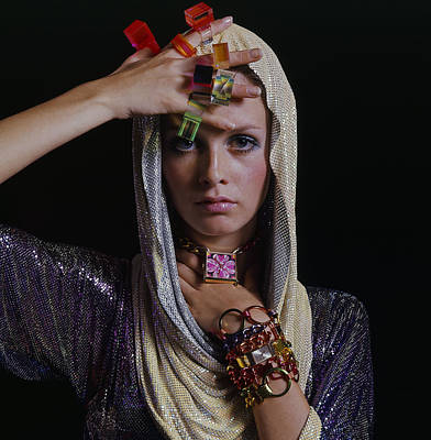 Photograph - Twiggy With Lucite Rings by Bert Stern
