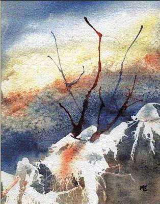 Winter Abstract Painting - Twigs-n-ice by Marsha Elliott