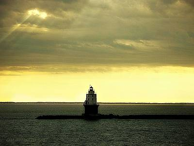 Photograph - Twilight At Breakwater East End Light by Kathy Barney