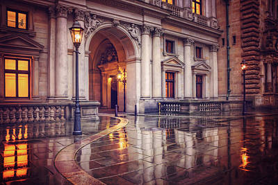Twilight At Hamburg Town Hall Courtyard  Art Print by Carol Japp