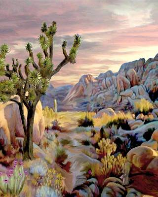 Desert Scape Painting - Twilight At Joshua   Vert. by Ron Chambers