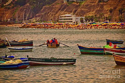 Art Print featuring the photograph Twilight At The Beach, Miraflores, Peru by Mary Machare