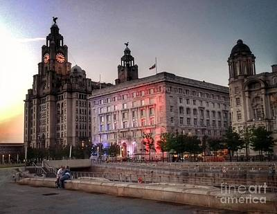 Photograph - Twilight At The Liver Buildings by Joan-Violet Stretch