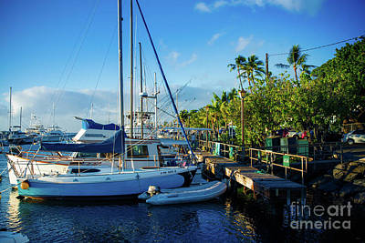 Twilight At The Marina Lahaina Harbour Maui Hawaii Art Print by Sharon Mau