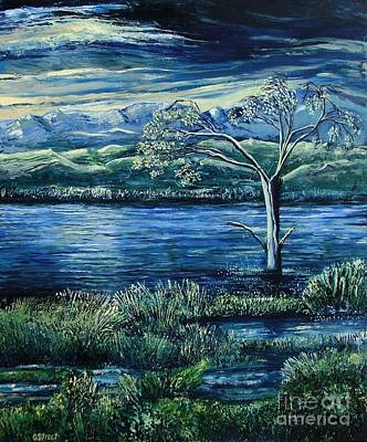 Twilight At The River Art Print