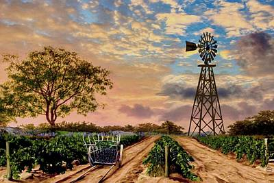 Twilight At The Vineyard Art Print by Ron Chambers
