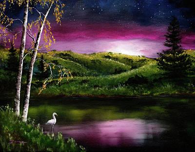 Painting - Twilight At Vasona Lake by Laura Iverson