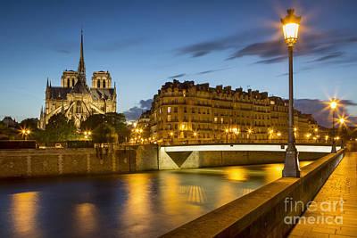 Photograph - Twilight Behind Notre Dame by Brian Jannsen
