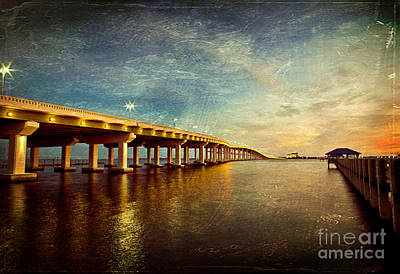 Twilight Biloxi Bridge Print by Joan McCool