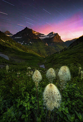 Twilight // Bird Woman Falls, Glacier National Park  Art Print
