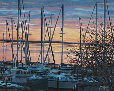 Painting - Twilight Boats by Tommy Midyette