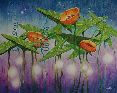 Drawing - Twilight Botanical by Lynne Renzenberger