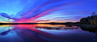 Downeast Maine Photograph - Twilight Burn Panorama by ABeautifulSky Photography by Bill Caldwell
