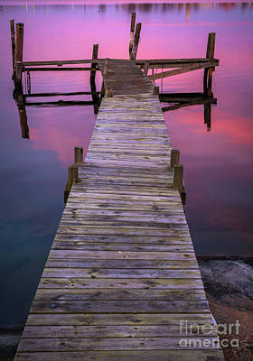 Twilight By The Dock Art Print by Inge Johnsson
