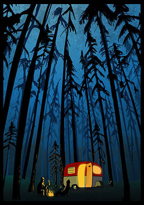 Woods Wall Art - Painting - Twilight Camping by Sassan Filsoof