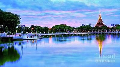 Digital Art - Twilight City Lake View by Ian Gledhill