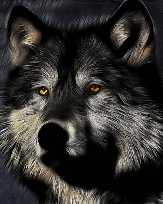 Twilight Eyes Of The Lone Wolf Art Print