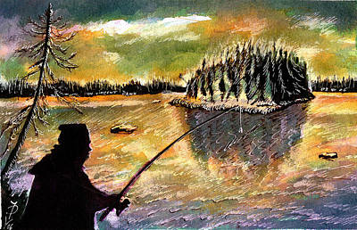 Northern Pike Drawing - Twilight Fishing In August by Ion vincent DAnu