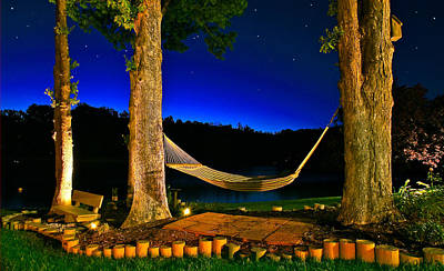 Twilight Hammock Smith Mountain Lake Art Print