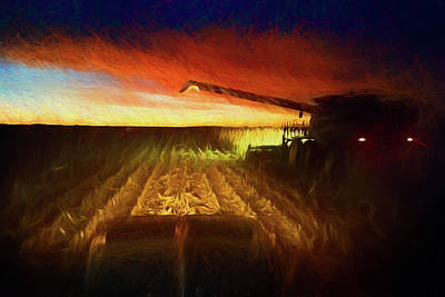 John Deere Wall Art - Photograph - Twilight Harvest by Thomas Zimmerman