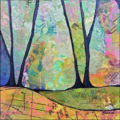 Tree Lines Painting - Twilight I by Shadia Derbyshire