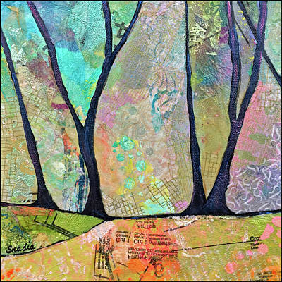 Tree Lines Painting - Twilight II by Shadia Derbyshire