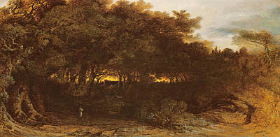 Eerie Painting - Twilight In The Woodlands by John Martin
