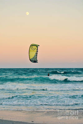Photograph - Twilight Kite Surfer Under The Moon by Kelly Nowak