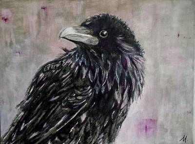 Crows Painting - Twilight by Mary Papageorgiou