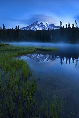 Mt Rainier Wall Art - Photograph - Twilight Mist Rising by Mike  Dawson