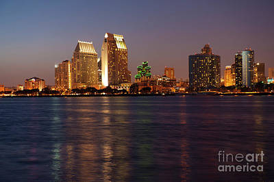 Photograph - Twilight On San Diego Harbor by Sandra Bronstein