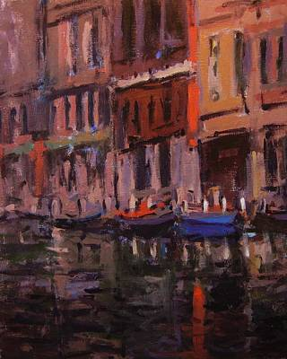 Twilight On The Canal Art Print by R W Goetting