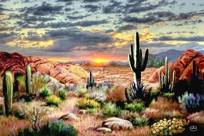 Painting - Twilight On The Desert by Ron Chambers