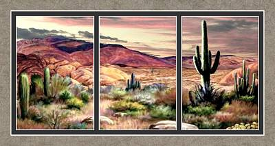Park Scene Painting - Twilight On The Desert Split Image by Ron Chambers