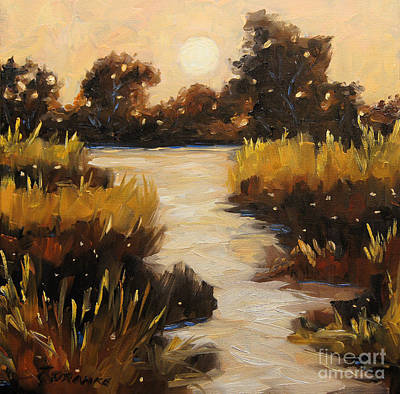 Marsh Scene Painting - Twilight On The Marsh By Prankearts by Richard T Pranke