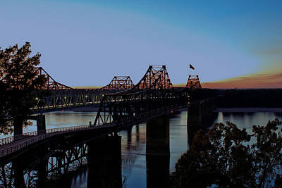 Photograph - Twilight On The Mississippi - Vicksburg Bridges by Barry Jones