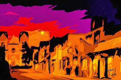 Twilight On The Plaza Santa Fe Art Print