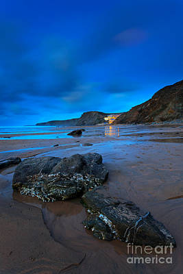 Fifteen Photograph - Twilight On Tregurrian Beach At Watergate Bay Cornwall by Richard Thomas