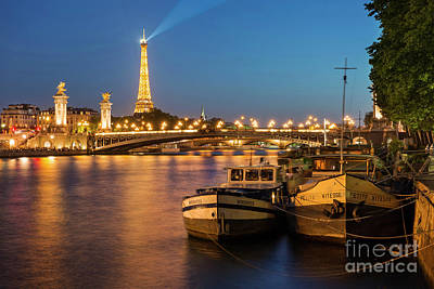Photograph - Twilight Over River Seine by Brian Jannsen