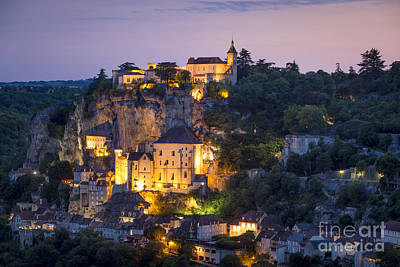 Twilight Over Rocamadour Art Print