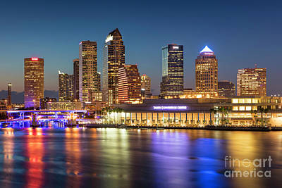 Photograph - Twilight Over Tampa Skyline by Brian Jannsen