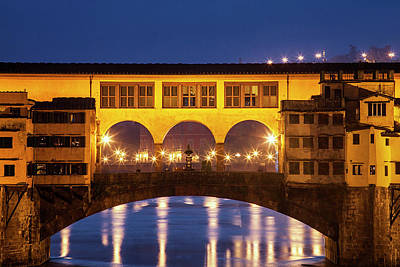 Firenze Photograph - Twilight Over The Ponte Vecchio by Andrew Soundarajan