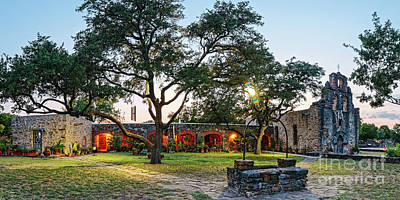 Photograph - Twilight Panorama Of Mission Espada - San Antonio Missions National Historical Park - Texas by Silvio Ligutti